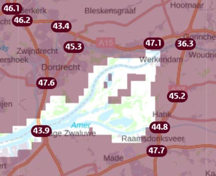 Temeperaturen van asfalt op snelwegen rond Dordrecht