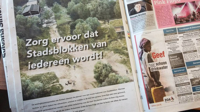De gewraakte advertentie in de Arnhemse Koerier.