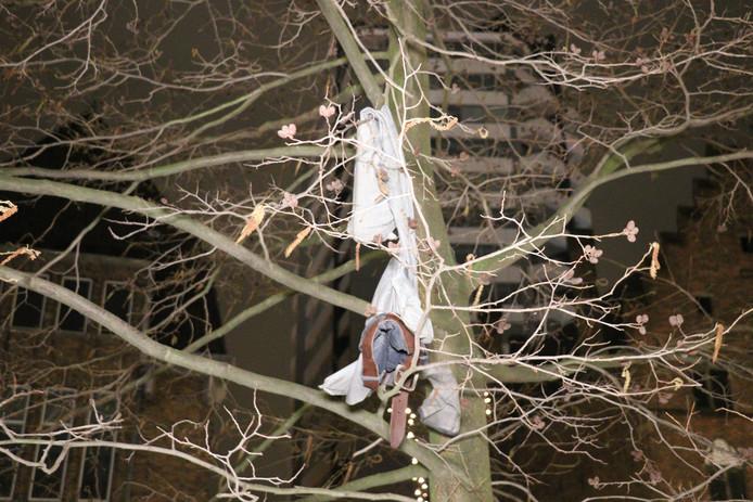 Een aantal kledingstukken hing in een boom.