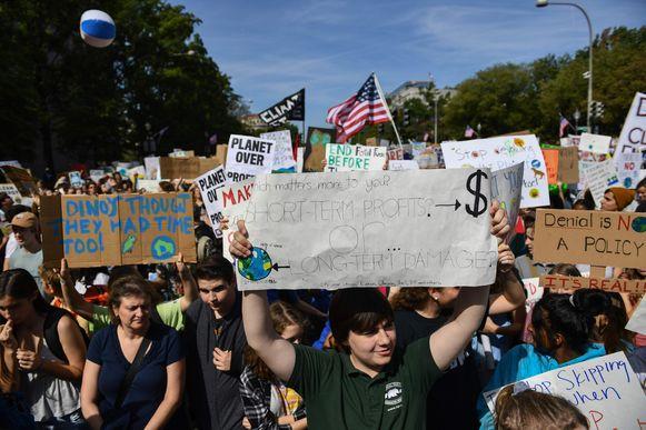 Ook in Washington kwam men massaal op straat.