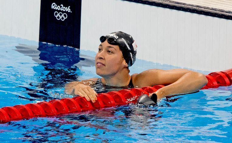 Ranomi Kromowidjojo tijdens de series 50 meter vrij in het Rio Aquatics Stadium op de Olympische Spelen van Rio. Beeld anp