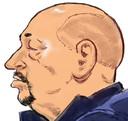 Rechtbanktekening van Martien R., een van de verdachten in de zaak Alfa. Het Openbaar Ministerie verdenkt Martien R. en de zijnen onder meer van deelname aan een criminele organisatie, wapenbezit, witwassen en grootschalige drugshandel.