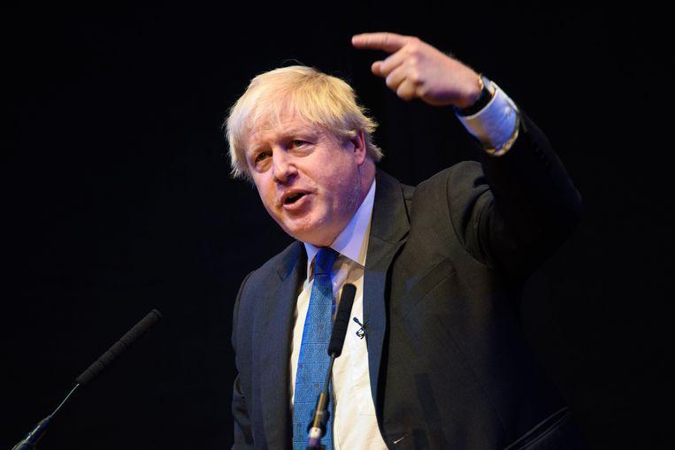 Boris Johnson tijdens zijn toespraak.