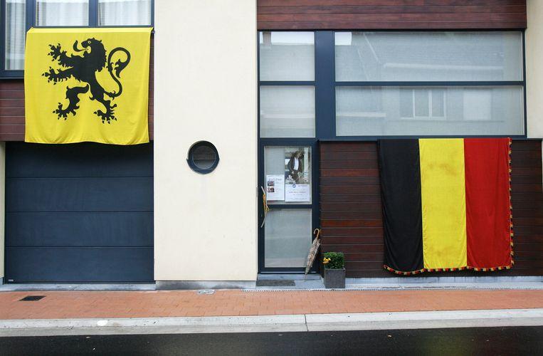 De Vlaamse Leeuw en tricolore vlag broederlijk naast elkaar.