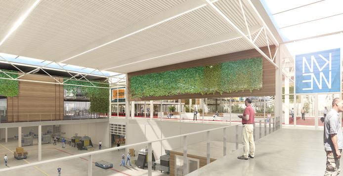 Een artist's impression van het Atrium van de Brainport Industries Campus (BIC) in aanbouw. Met inkijkje in de productieruimtes.