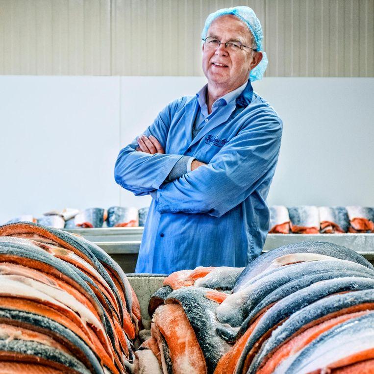 Directeur Wim van As bij Noorse kweekzalm Beeld Raymond Rutting