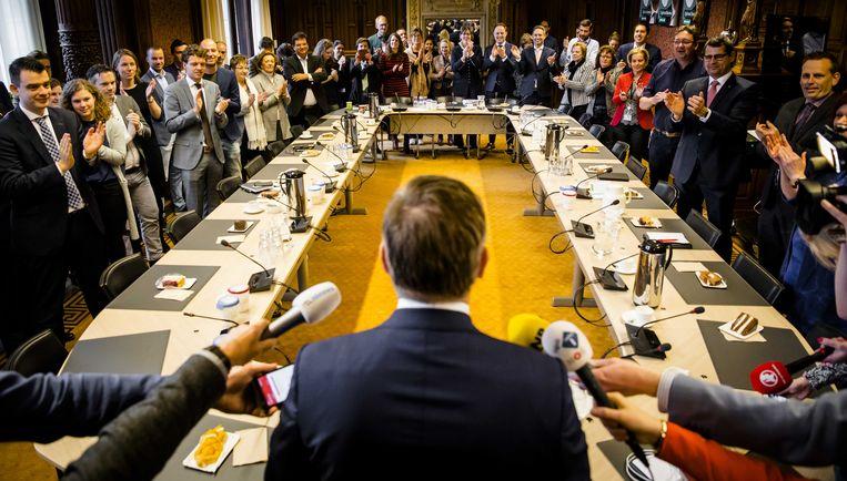 Sybrand Buma is de gevierde man in zijn fractie, na de raadsverkiezingen van vorig jaar. Toen was iedereen nog verenigd achter de leider. Beeld Bart Maat/ANP