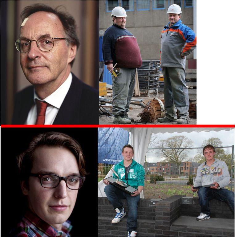 Alexander Rinnooy Kan (linksboven © ANP), rechtsboven: Gerrit en Hans © Marcel van den Bergh/ de Volkskrant. linksonder: Sywert van Lienden © ANP, rechtsonder Robin van Hoof en Twan van de Heijden © ANP. Beeld null