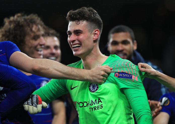Kepa Arrizabalaga pakte twee strafschoppen en was daarmee de held bij Chelsea.