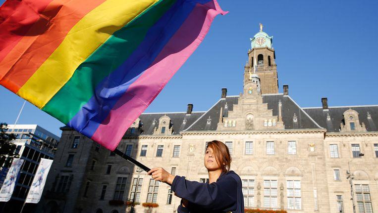 De regenboogvlag op het Rotterdam Pride Festival. Beeld afp