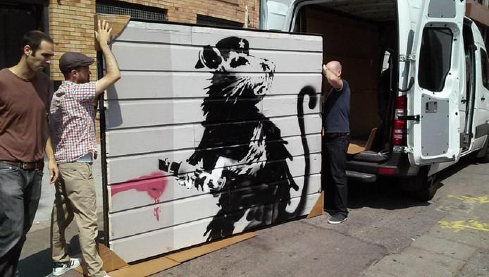 Het bewuste kunstwerk van Banksy.