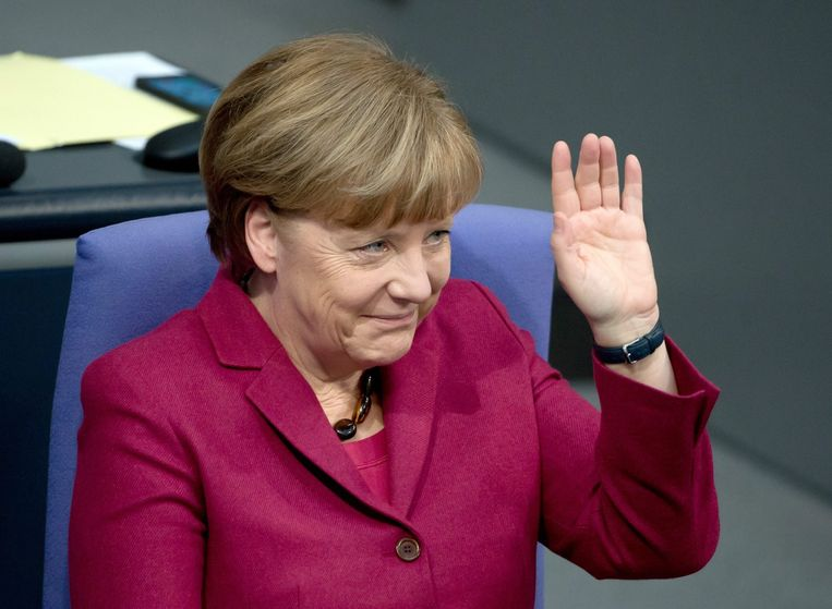 De crisis verlamt Europese instellingen; cruciale lidstaten zoals Duitsland trekken de kar. Op de foto: Angela Merkel, bondskanselier van Duitsland Beeld epa