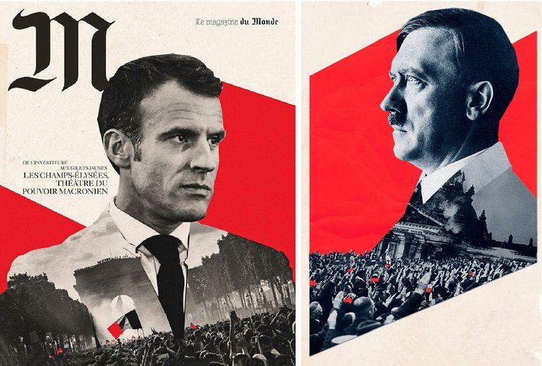 De cover van het magazine (L) beeldt Macron af, maar lijkt verdacht veel op een poster waarop Hitler staat.