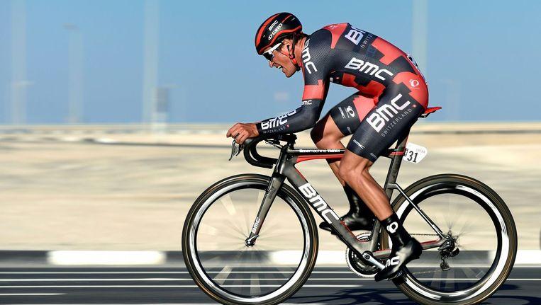 Greg van Avermaet op de fiets in Qater. Beeld afp