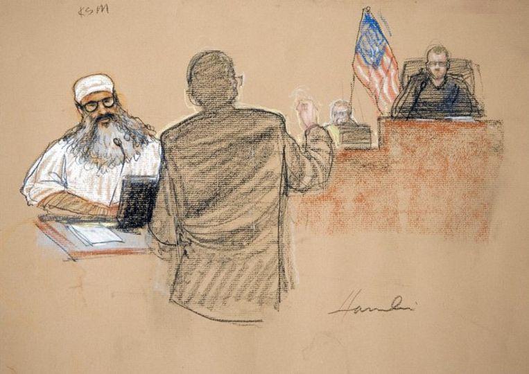 Khalid Sheikh Mohammed bij het militair tribunaal. Foto AP. Beeld