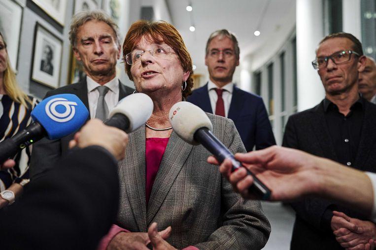 AOb-voorzitter Liesbeth Verheggen, vrijdag bij de presentatie van en akkoord met het kabinet.  Beeld null