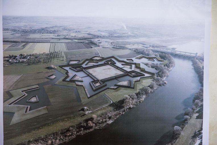 Een impressie van het voormalige Fort Navagne op de vroegere plek langs de Maas.