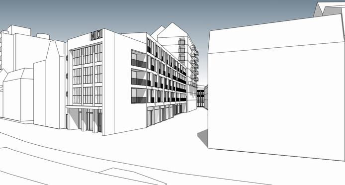 Schets van de nieuwbouw, het kader van de voorgevel wordt uitgevoerd in zwart graniet. Het hoge gebouw op de achtergrond is het toekomstige Pakhuis West.