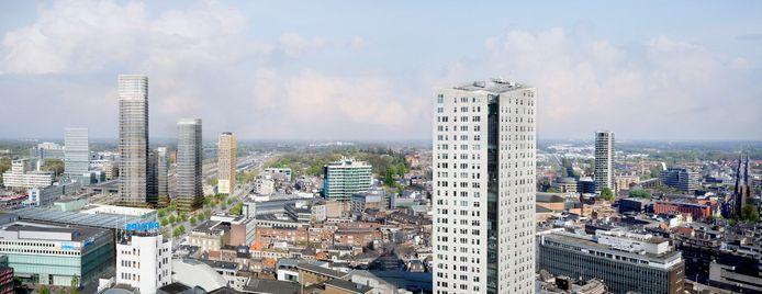 De nieuwste  impressie van het plan District E voor het Stationsplein in Eindhoven. De hoogste toren is verhoogd naar 170 meter in plaats van 158 en staat nu aan de westkant, tegenover de Bijenkorf. Op de voorgrond de Admirant aan de Emmasingel, met 105 meter tot nu de hoogste toren.
