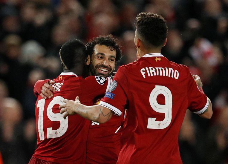 Het levensgevaarlijke trio van Liverpool Mané, Salah en Firmino.