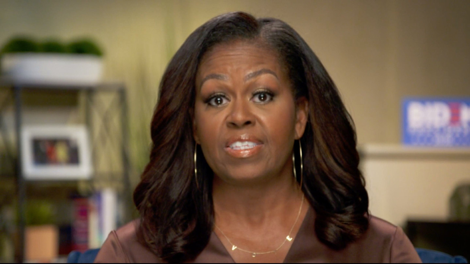 Michelle Obama sprak tijdens een video-opname haar steun uit voor Joe Biden.