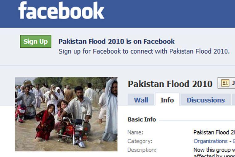De Facebook-groep van Pakistan Flood 2010 Beeld