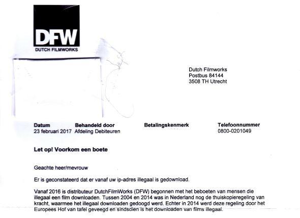 Nepbrief van oplichters uit naam van filmdistributeur Dutch FilmWorks (DFW). De Fraudehelpdesk waarschuwde ervoor.