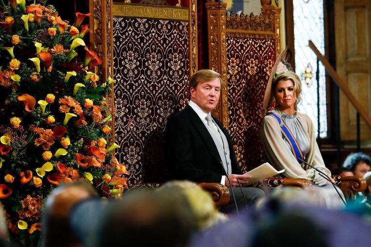 Koning Willem-Alexander leest de troonrede voor. Beeld anp
