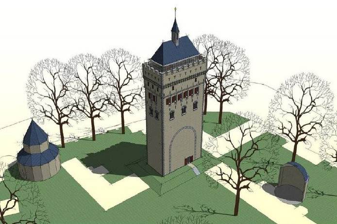 Artist impression van de Donjon in Nijmegen. Illustratie: Haskoning