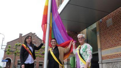 Regenboogvlag wappert aan administratief centrum