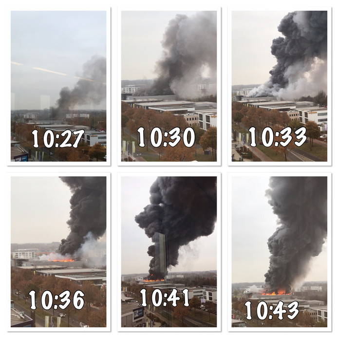 Vrijwillig brandweer Jorn Hagen maakt vanuit zijn werkkamer in een kantoorpand in Apeldoorn in een kwartier tijd de foto's van de zich snel ontwikkelende brand van de Karwei in Apeldoorn.