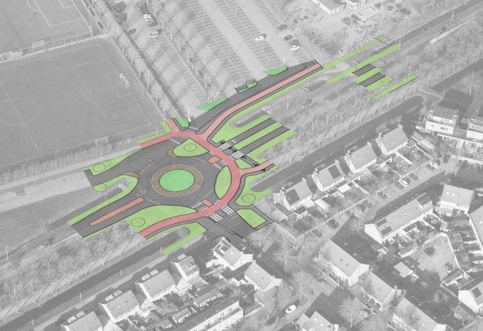 Impressie van de nieuwe rotonde. Boven de parkeerplaatsen bij OJC.