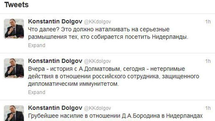 Screenshot van de twitterfeed van Konstatin Dolgov.