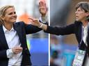 Sarina Wiegman (links) en Milena Bertolini, de bondscoaches van Nederland en Italië.