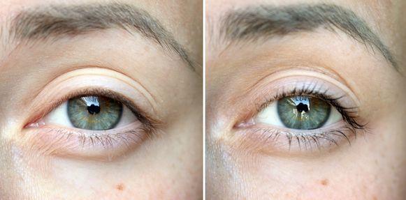 Links: voor, rechts: na (telkens zonder mascara)