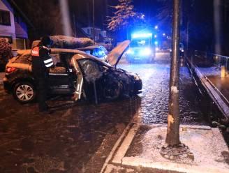Auto knalt tegen boom na slipper op glad wegdek in Temsestraat