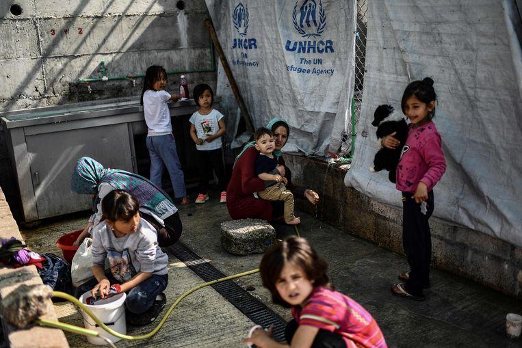 Er werden 9.500 vluchtelingen geteld in het vluchtelingenkamp Moria.