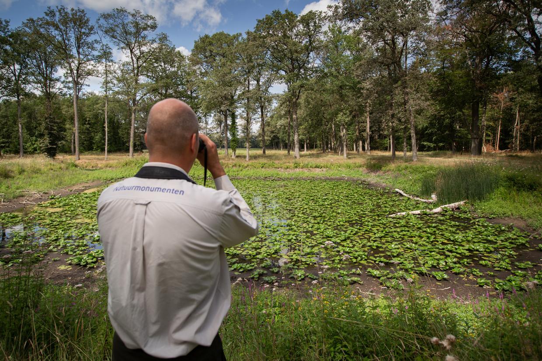 Ecoloog Udo Hassefras  van Natuurmonumenten bij Zelhem. In een poel staat het water zo laag dat de waterlelies op steeltjes staan.