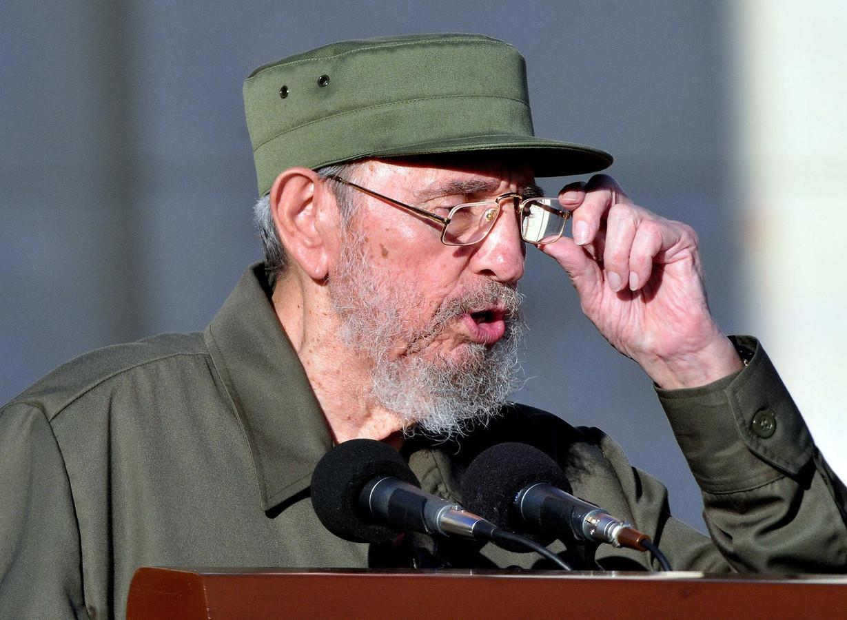 Fidel Castro tijdens een van zijn lange speeches.