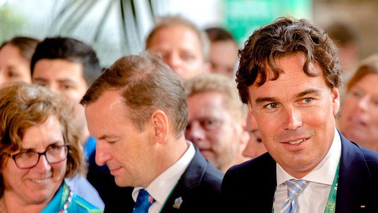 Camiel Eurlings (R) tijdens de officiële opening van het Holland Heineken House in bij de Olympische Spelen in Rio. Beeld anp