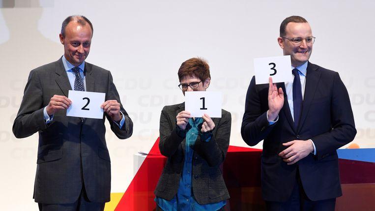 V.l.n.r. Friedrich Merz, Annegret Kramp-Karrenbauer en Jens Spahn.