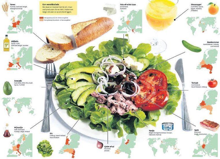 null Beeld Afbeelding uit de `Bosatlas van het voedsel'. Nederland produceert veel voedsel, maar de ingrediënten voor veel salades komen veelal uit het buitenland.