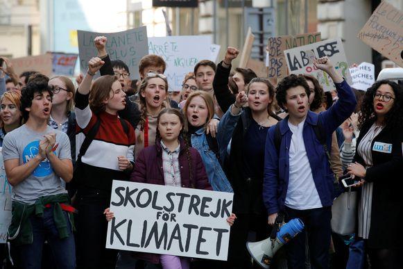 Klimaatprotest met Anuna De Wever en Greta Thunberg. Hun stem werd gehoord tot in de Wetstraat.
