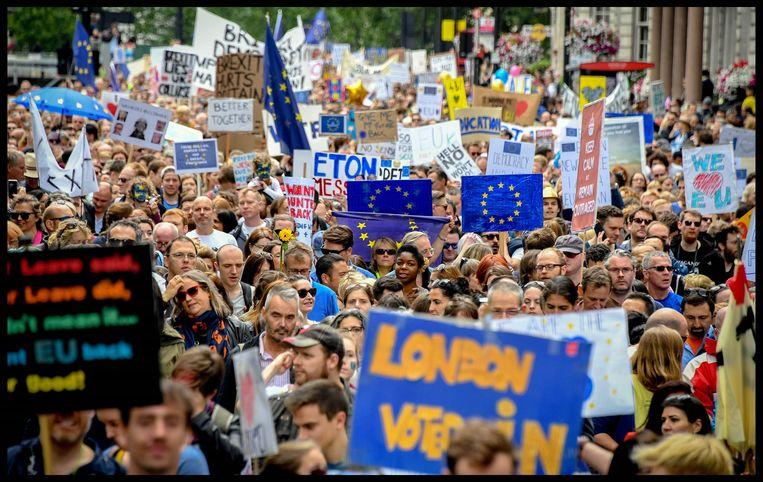 Protestmars tegen de brexit in Londen, vorige week.