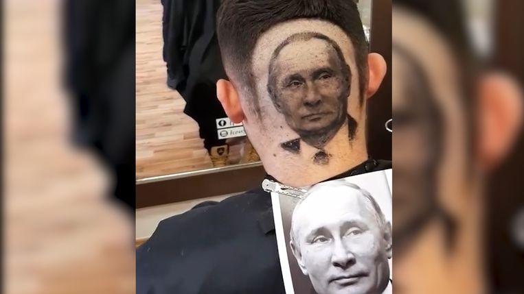 De creatie lijkt sprekend op het voorbeeld van Poetin dat de kapper gebruikte.