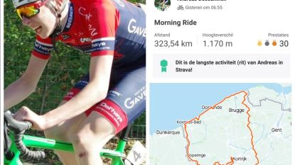 """Andreas (16) rijdt rond West-Vlaanderen, goed voor 323 kilometer: """"Laatste kilometers voelden als trappen door nat beton"""""""
