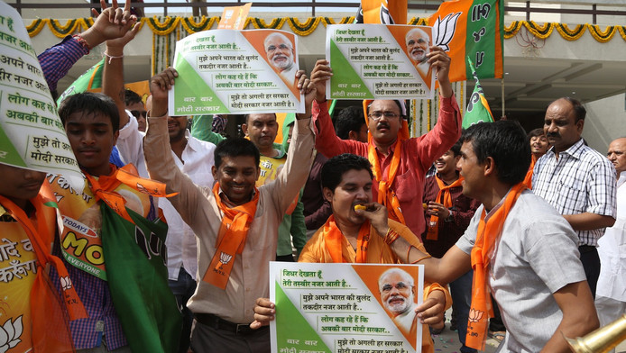 Partisans du parti nationaliste indien Bharatiya Janata Party