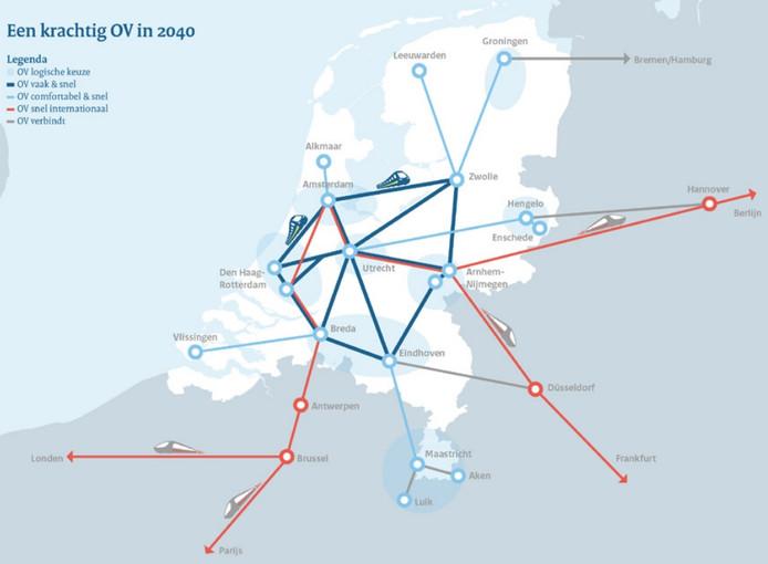 De hoofdverbindingen in het spoornetwerk in 2040