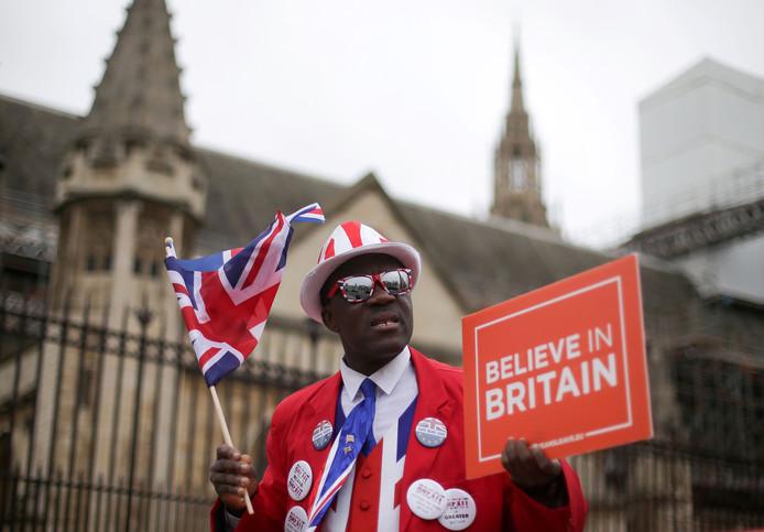 Pro-brexit activist Joseph Afrane demonstreert voor de Parlementsgebouwen in Londen.