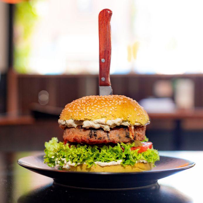 Zeewierburger van het Amsterdamse restaurant Dutch Weed Burger Joint.